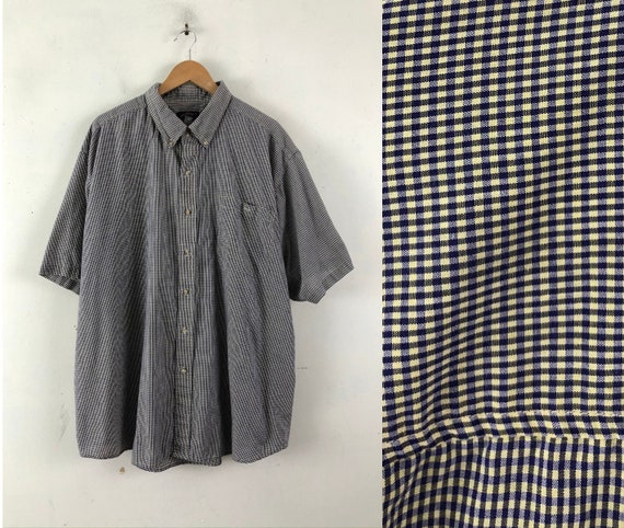 Vintage Mens Plaid Shirt | 90s Micro Plaid Button