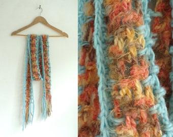 hand knit scarf, striped scarf, acrylic yarn scarf, eyelet scarf, fringe scarf, fall scarf, winter scarf, crochet scarf, blue orange brown