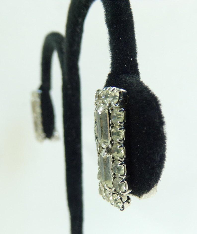 60s crystal rhinestone earrings 1960s mad men fancy evening earrings square minimalist clip on vintage earrings costume jewelry