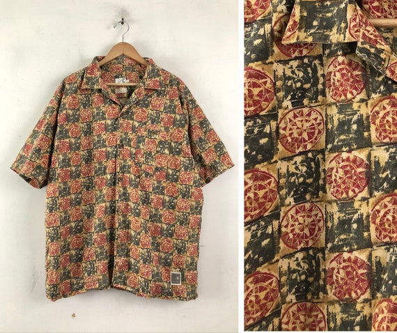 Vintage Mens Hawaiian Shirt | 90s Geometric Checke
