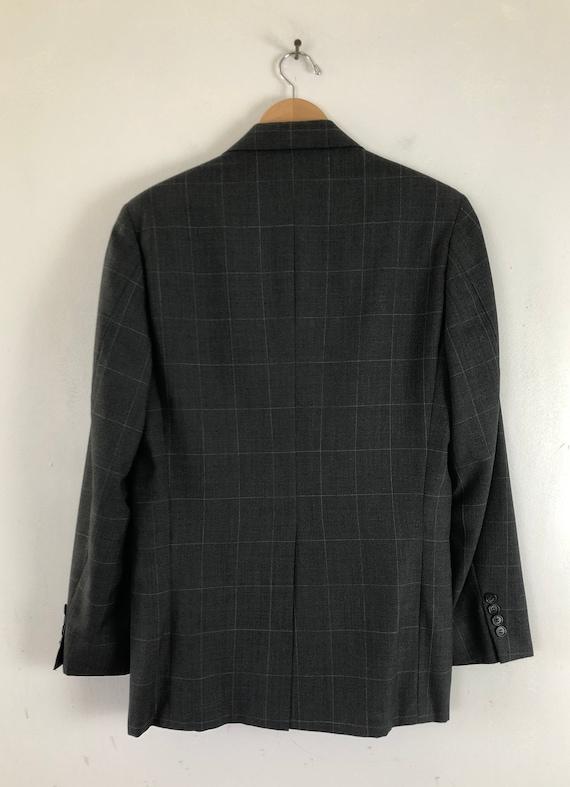 Vintage Mens Plaid Suit | 80s Charcoal Gray Wool … - image 4