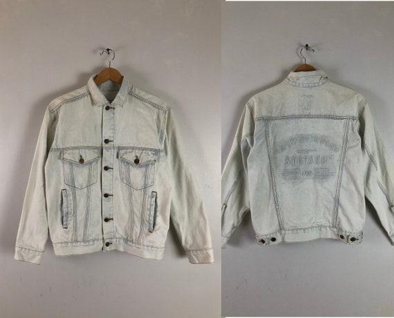 Vintage Mens Jean Jacket | 80s Stefano Acid Wash D