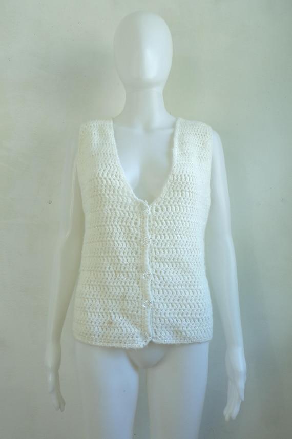 iridescent crochet sweater vest 80s white knit ve… - image 2