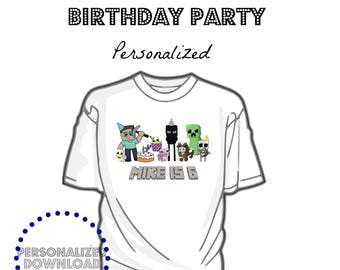 25fef5a6 PERSONALIZED DOWNLOAD Boy Mine themed printable, Party, Birthday, tshirt  image, tshirt download, iron on file