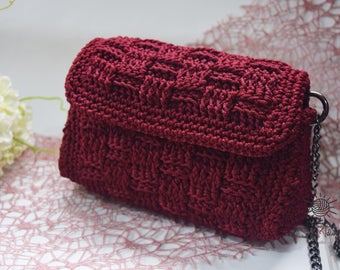 Handmade Crochet Evening Bag, Crochet Handbag Crochet Shoulder Purse Bag