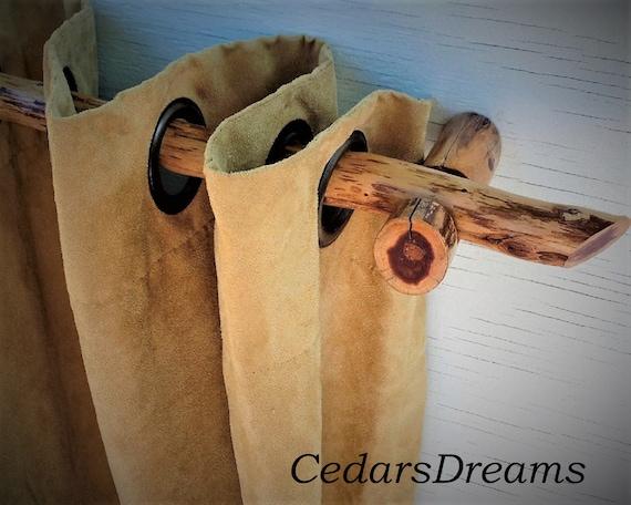 51 70 Wood Curtain Rod, Rustic Curtain Rod Hooks