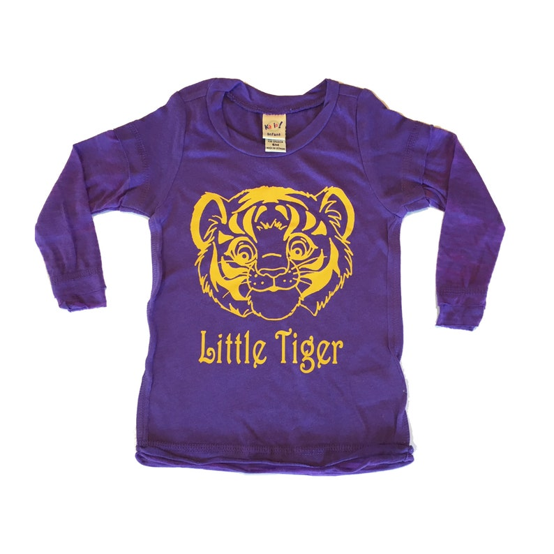 c88b139de863 Little Tiger LSU Infant Sheer Jersey Raw Edge Burnout Long | Etsy