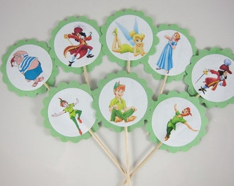 Peter Pan cupcake toppers, Peter Pan and Wendy Round scallope sided cupcake picks