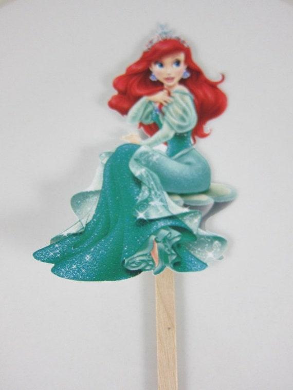 The Little Mermaid Cake Topper Theme Ariel Birthday Cake Etsy