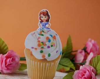 Sofia the First cupcake toppers, Sofia the First cupcake picks,Sofia the First birthday themed,Princess birthday themed