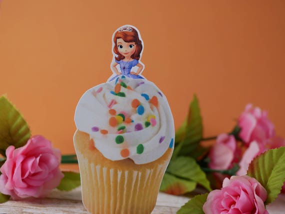 24pcs Wedding Cupcake Wrappers Favors Sofia the first princess Cup Cake Toppers