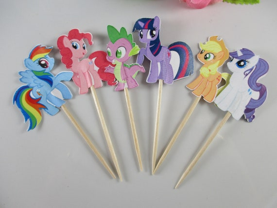 Cupcake Topper Party Supplies For 1 Year Old Girl Birthday Outfit Set of 12My Little Pony Cupcake Topper With Double Sided Wrappers For Pony Themed Party Birthday Party Decoration