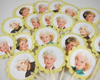 The Golden Girls Cupcake picks , Rose, Blanche,Sophia and Dorothy, round scalloped cupcake picks