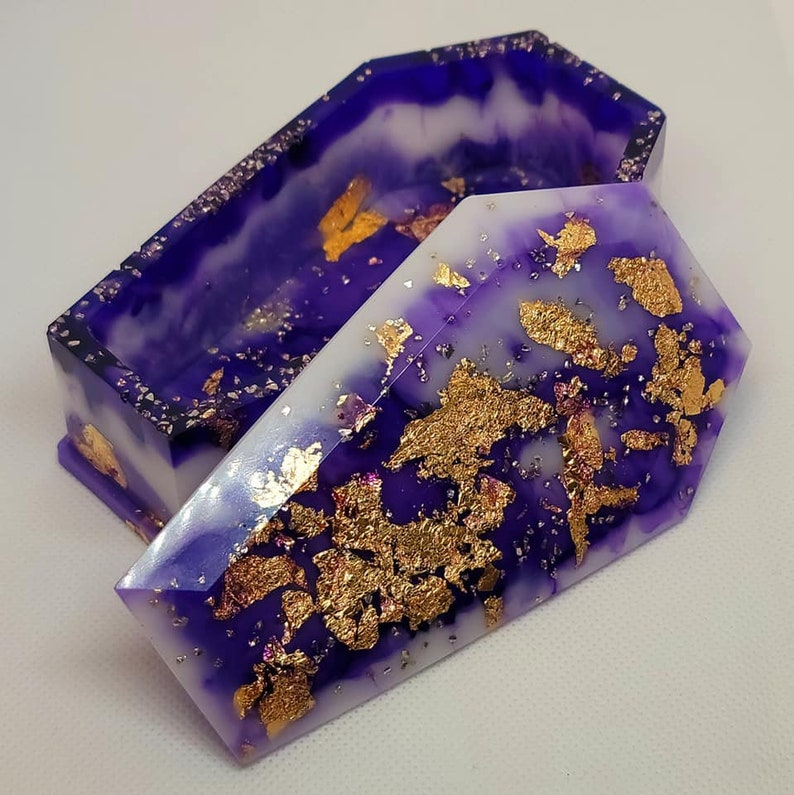 white gold flakes Resin Coffin Jewelry box purple