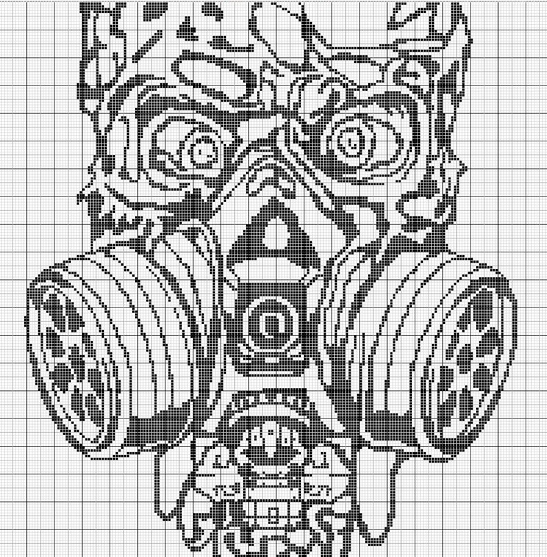Meet the CREEP skull c2c crochet written pattern