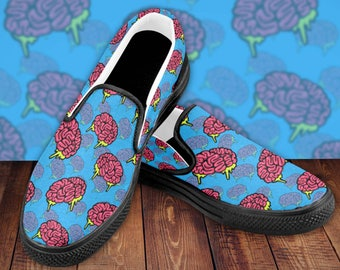 Brains Everywhere Men's Slip On Shoes - Men's Shoes - Brain Apparel - Brain Shoes - Unique Brain Gift - Gifts for Him