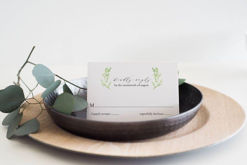Romantic Wedding Reply Card Add-On Organic Greenery Wedding Reply Card