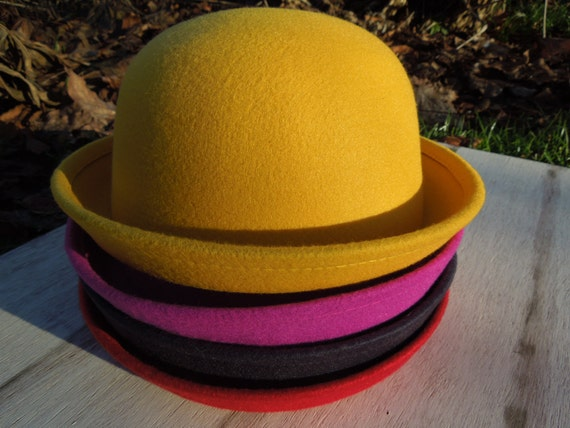 Bowler Hat Teen and Adult Bowler. Black Bowler Hat Retro  d0e6df7470a