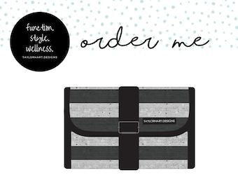 Speckled Stripes Foldable Clutch Medical Supply Carry Case, Diabetic Carry Case, Emergency Meds Supply Case