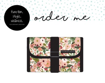 Rustic Floral Foldable Clutch Medical Supply Carry Case, Diabetic Carry Case, Emergency Meds Supply Case