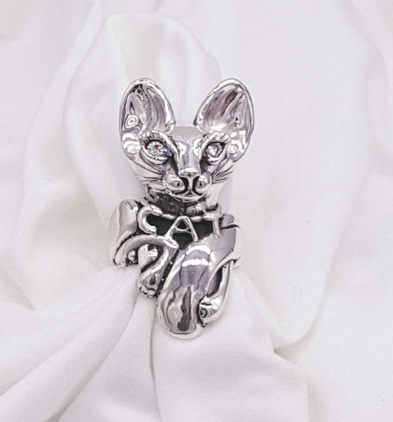 Cat Ring Sterling Silver Statement Ring Joann Marie image 0