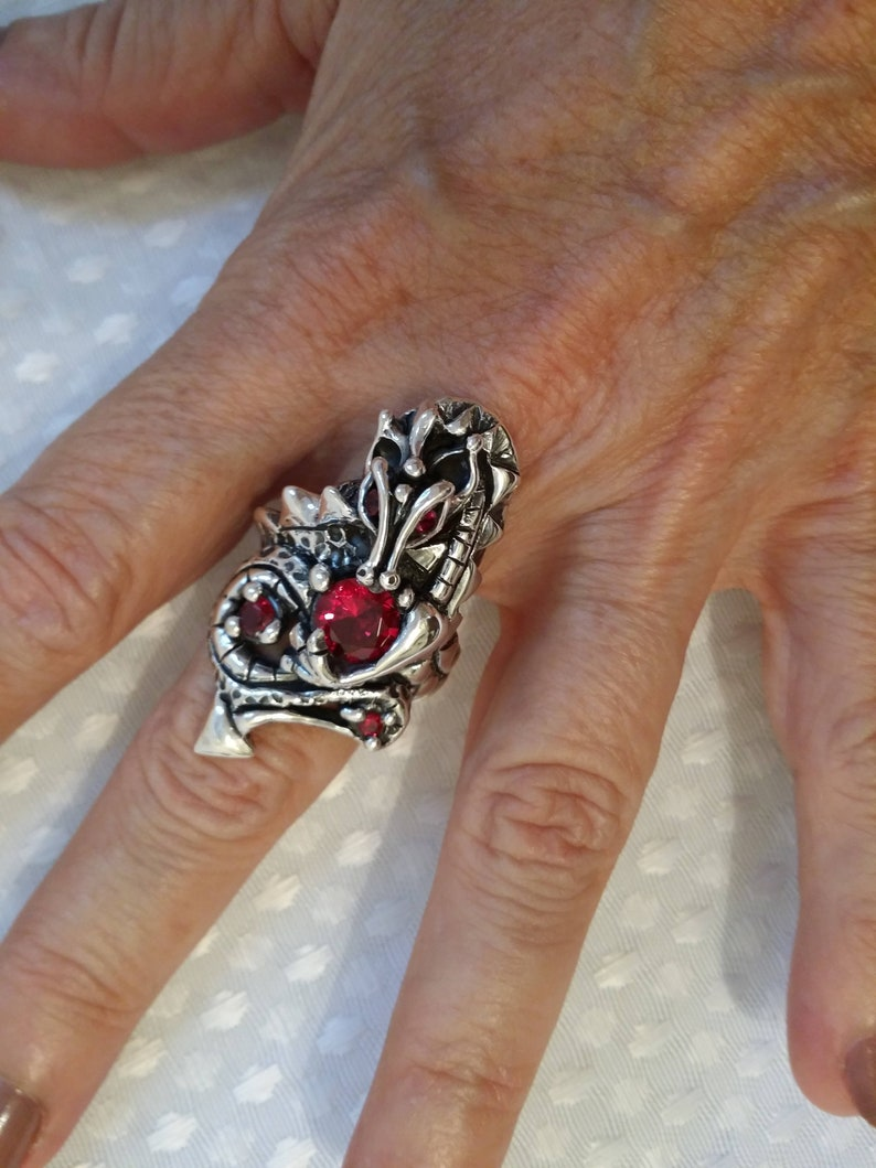 Dragon Ring Fantasy Jewelry Garnet Ring Joann Marie Jewelry image 0