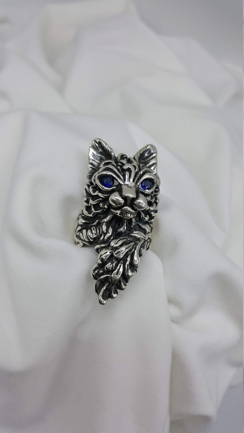 Cat Ring Cat Lover Gift Cat Memorial Jewelry Sterling image 0