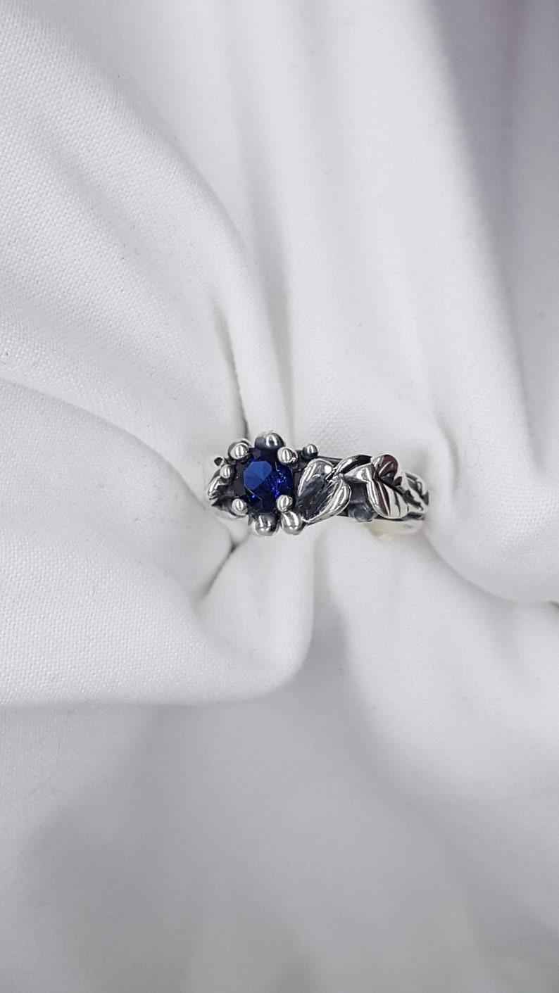 Leaf and Vine Sapphire Ring Silver Leaf Ring Leaf Engagement image 0