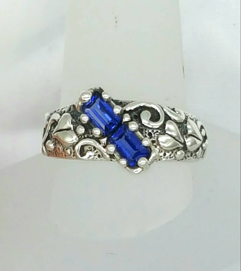 Sapphire baguettes wedding band engagement ring sterling image 0