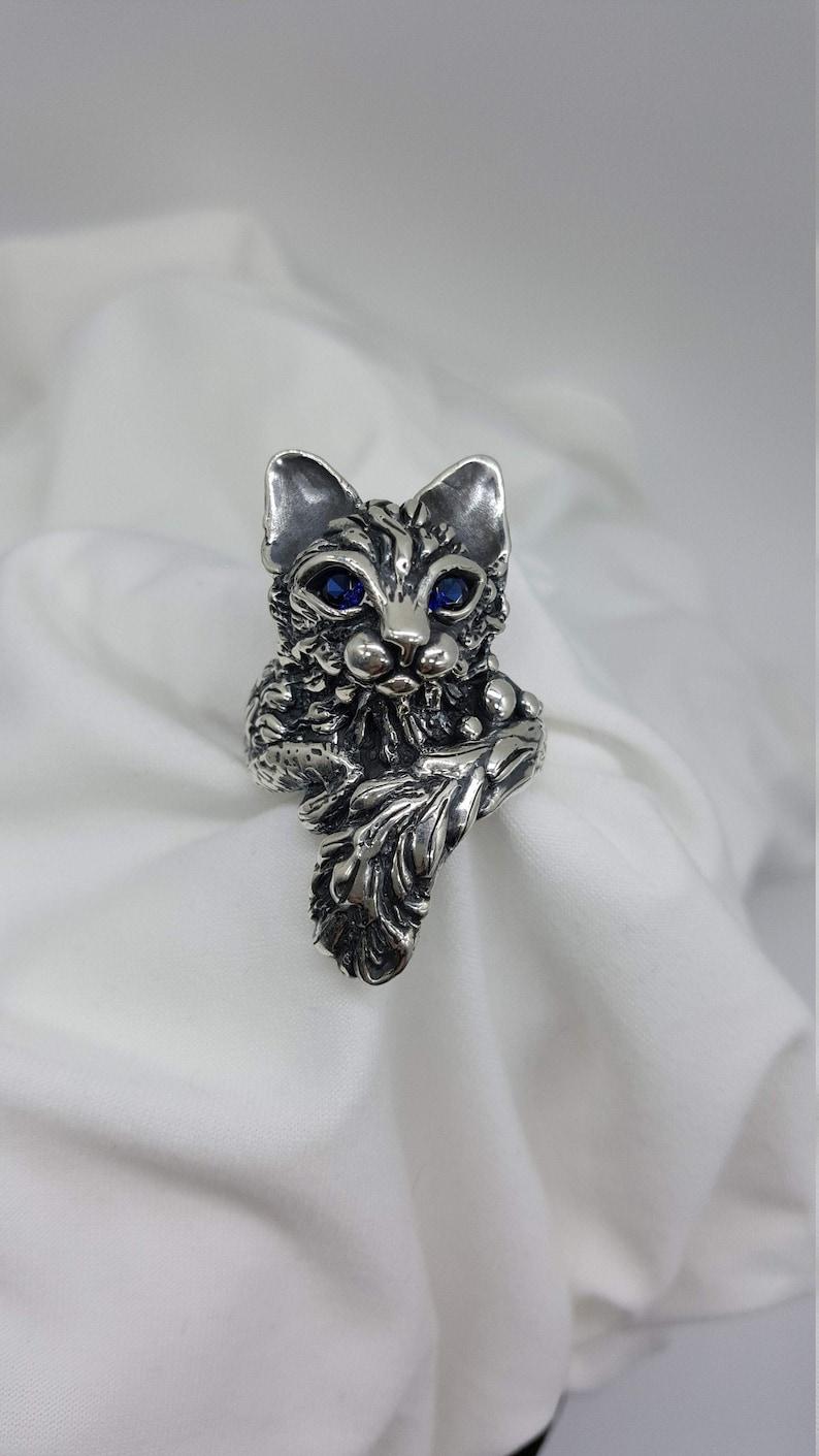 Sapphire Cat Ring Statement Ring Joann Marie Jewelry image 0