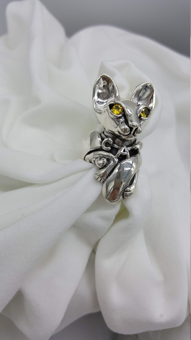 Cat Ring Citrine Ring Sterling Silver Statement Ring Joann image 0