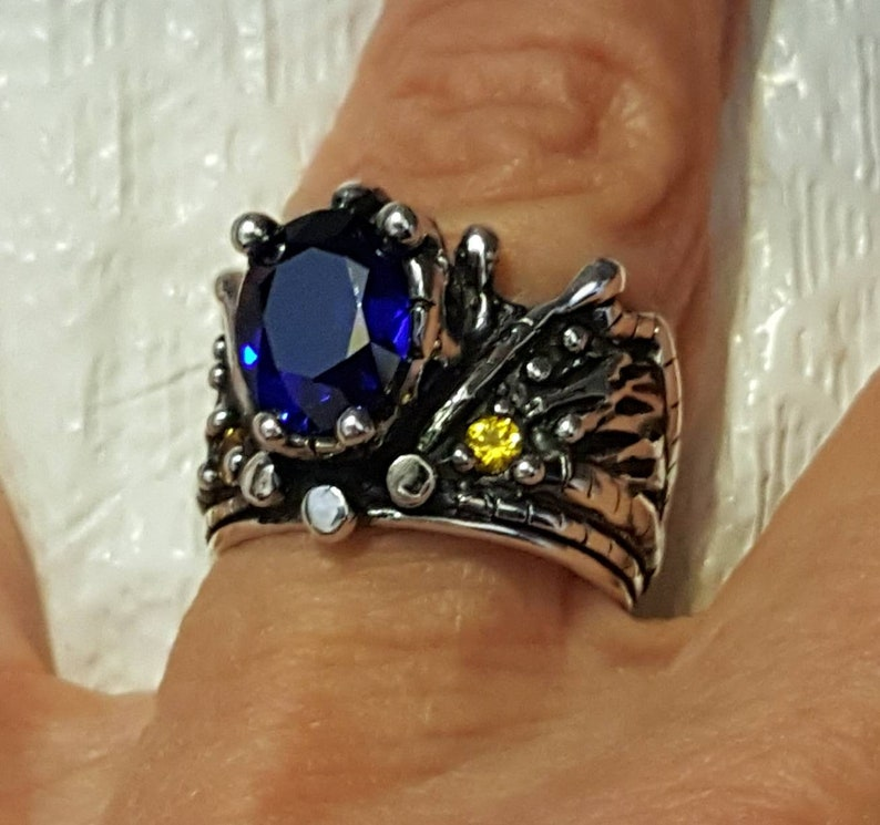 Blue and Yellow Crown Ring Crown Ring image 0