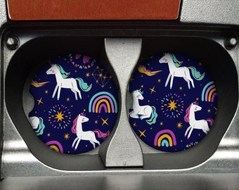 Unicorn car coasters Set of 2 .  Car accessories gift. Custom car coasters. Car accessories for women. Unicorn gifts for car