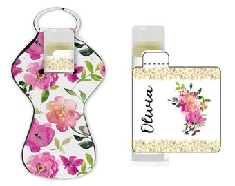 Set of 12 personalized floral Lip balm labels and lip balm holders. Lip balm labels  with sealing tab. Lip balm holder with key ring.