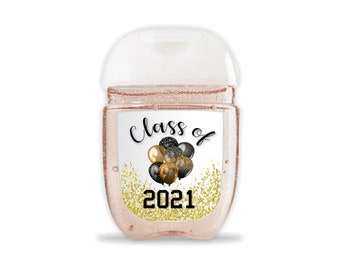 Set of 30 Graduation mini hand sanitizer labels. Gold and Black Balloons and confetti hand sanitizer labels. Graduation favors labels.