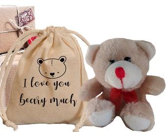 I love you beary much gift set. Cute Stuffed teddy bear and matching cotton bag. Custom Teddy bear gift