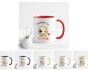 Thinking of you mug. Funnt Voodoo doll mug with inside and handle color. Funny Long distance gift.  11oz or 15oz coffee mug