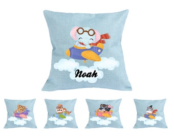 Personalized Pilot animals pillow case. Custom Blue pillow cover for nursery or kids room.