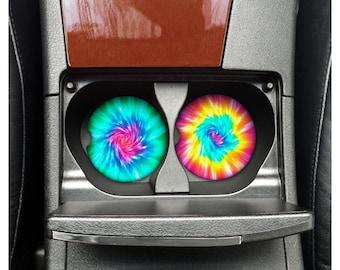 Set of 2 Tie Dye car coasters.  Car accessories gift. Custom Tie Dye car coasters