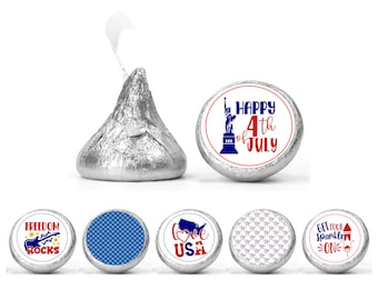 Set of 108 4th of July stickers for Chocolate kisses. 4th of July party labels. Patriotic favors labels.