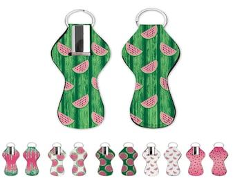 Watermelon chapstick holder. Watermeln lip balm holde with key ring. Watermelon lip gloss holder for bag or keychin.