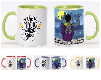 The magic is in you wizard mug for boy or girl. Wizard mug with inside and handle color. 11oz or 15oz wizard mug