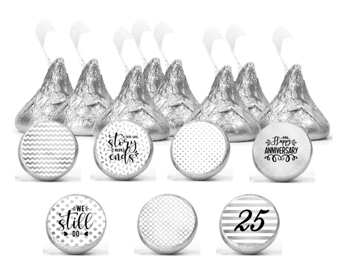 Featured listing image: Set of 108 Silver anniversary stickers for Chocolate kisses. 25th anniversary labels. Anniversary favors labels.