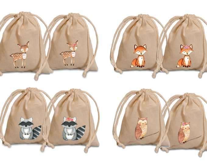 Featured listing image: Woodland favor bags. Baby shower favors. Personalized favor bags. Party favors. Woodland animals. Woodland baby shower. Woodland wedding