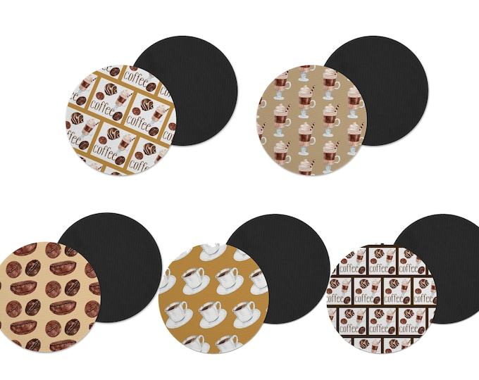 Featured listing image: Fabric coffee coasters. Custom coffee coasters. coffee lover gift.