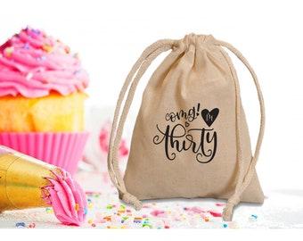 30th birthday favor bags. 30th birthday favors. Personalized birthday favor bags. 30th  Party favors.