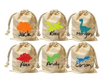 Personalize dinosaur favor bags.Dinosaur birthday.Dinosaur party favor.Dinosaur treat bag.Dinosaur party bag.Cotton favor bags.party favor.
