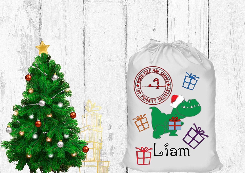 Dinosaur Santa sack. Christmas stocking. Personalized dinosaur gift ...