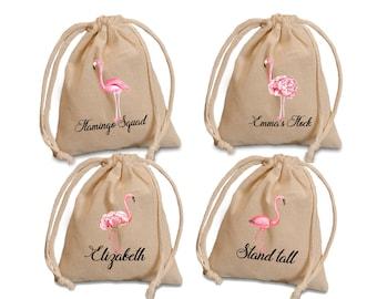 Flamingo favor bags. Flamingo birthday favors. Personalized flamingo favor bags. Flamingo Party favors. Flamingo bridle shower bags