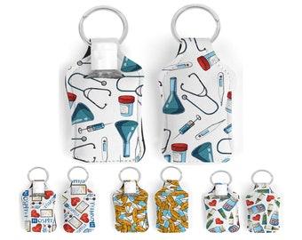 Medical pattern hand sanitizer holder with key ring for mini hand sanitizer bottle of 30ml. Medical worker gift